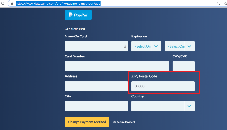 Zip Postal Code For Datacamp Payment Method Support Datacamp